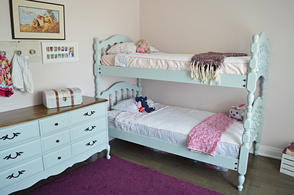 Painted Blue Spindle Bunk Beds For Girls The Vanderveen House