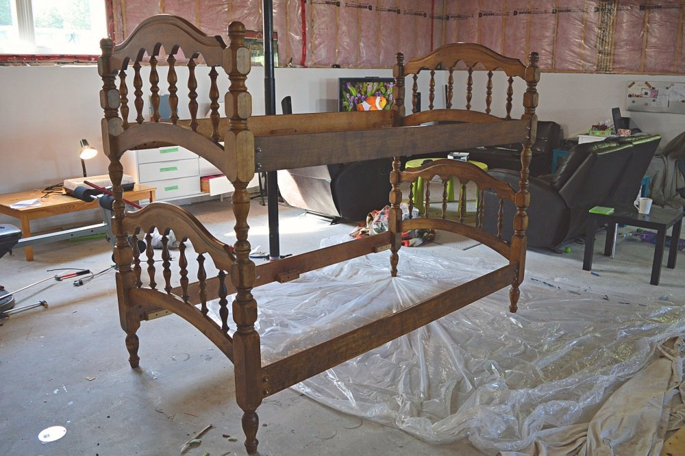 painted wood bunk bed