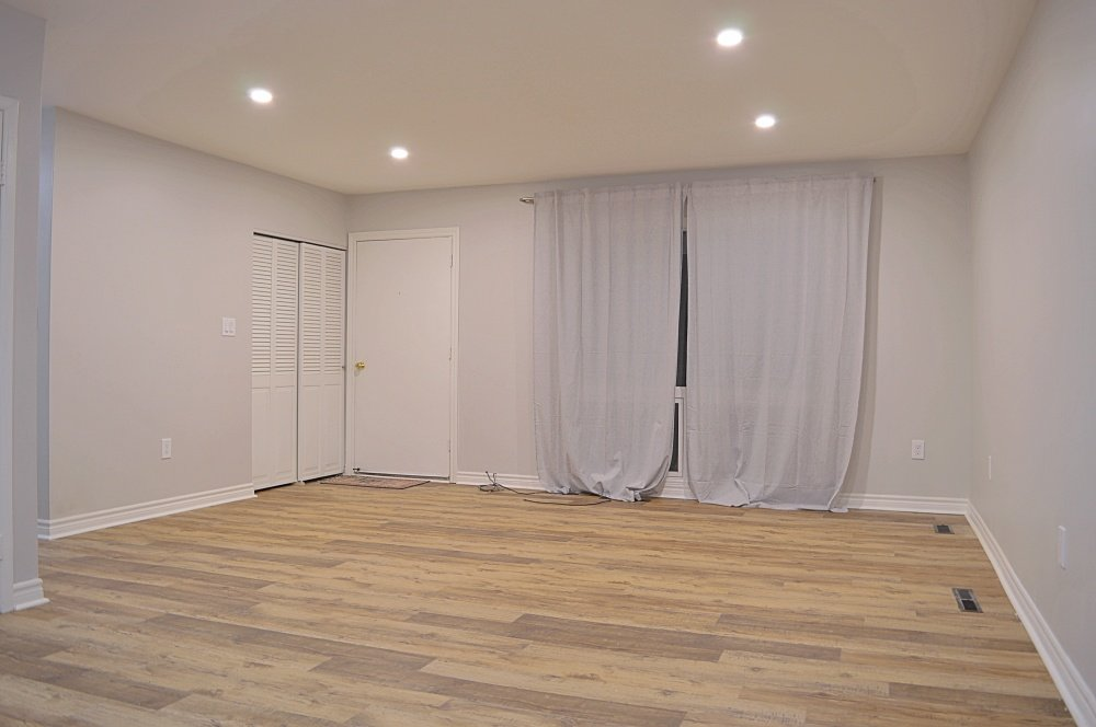 rental property renovation open concept living room