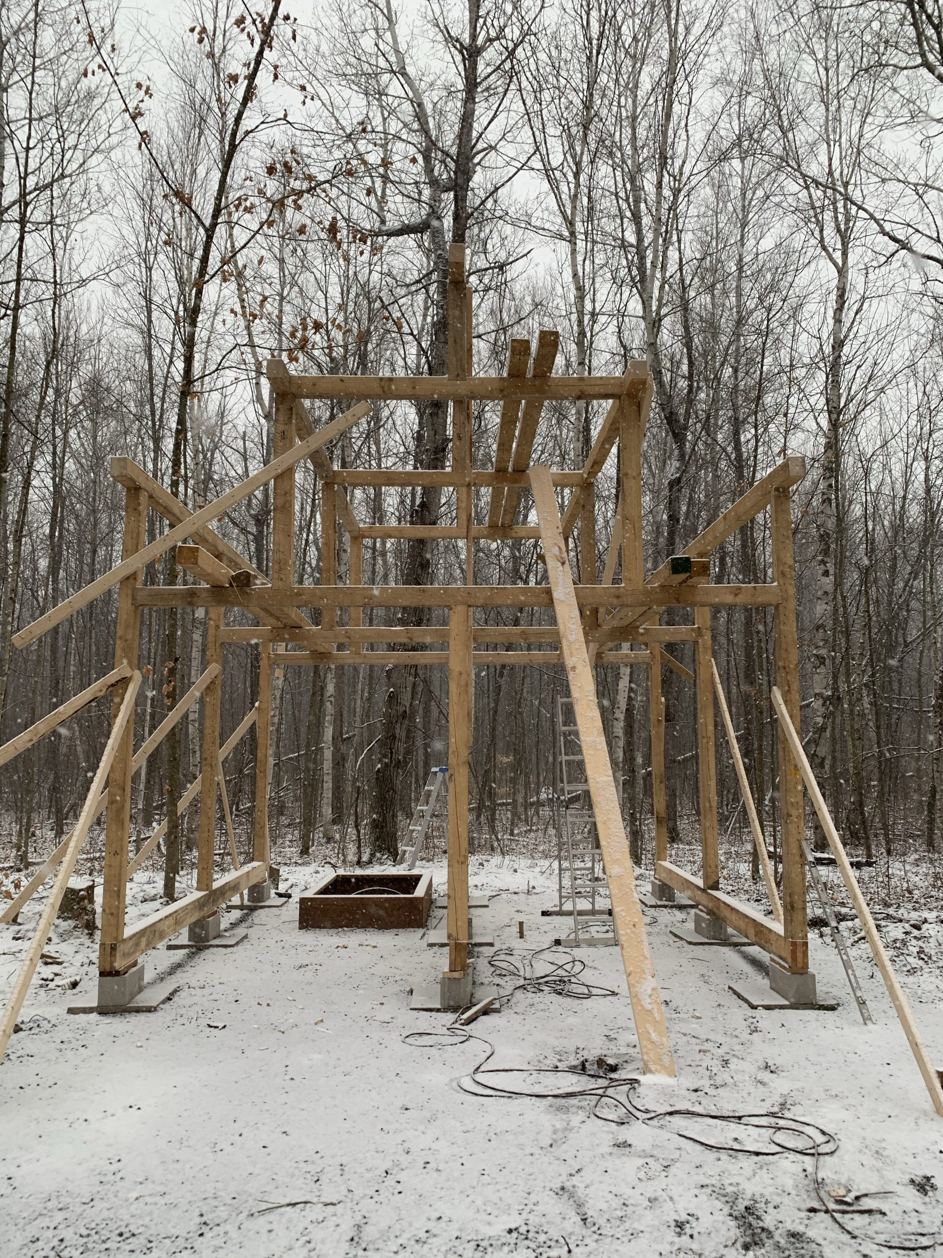 post and beam cabin construction