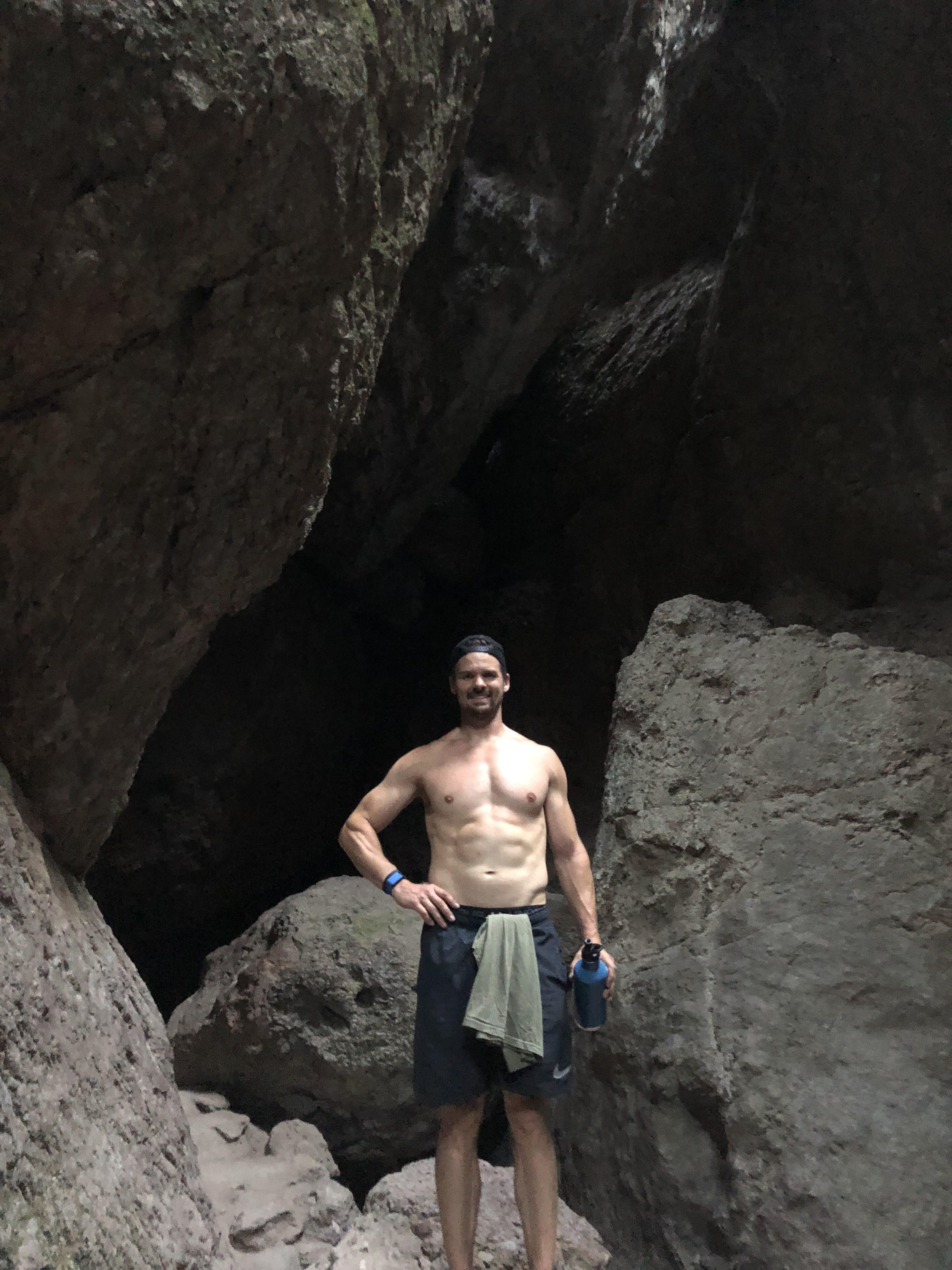 Joe Bauer in Balconies Cave in Pinnacles National Park