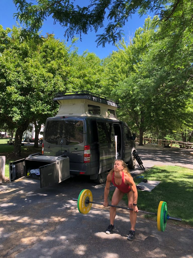 Emily Kramer doing some clean and jerks at copperfield campground
