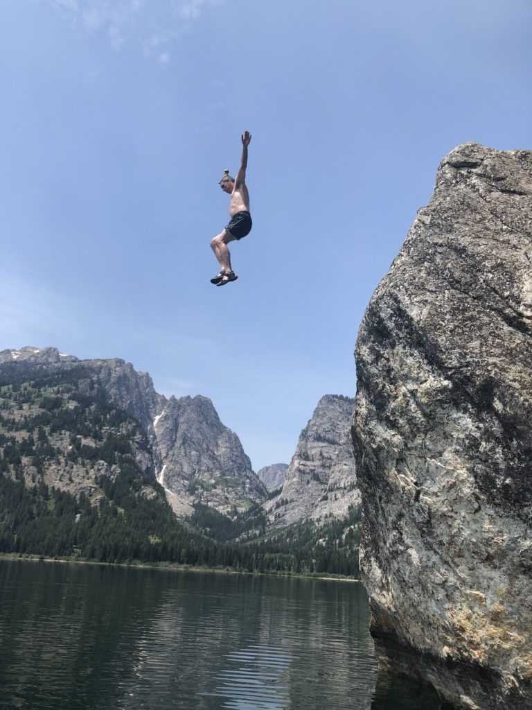 Chuck rock jumping at Phelps Lake