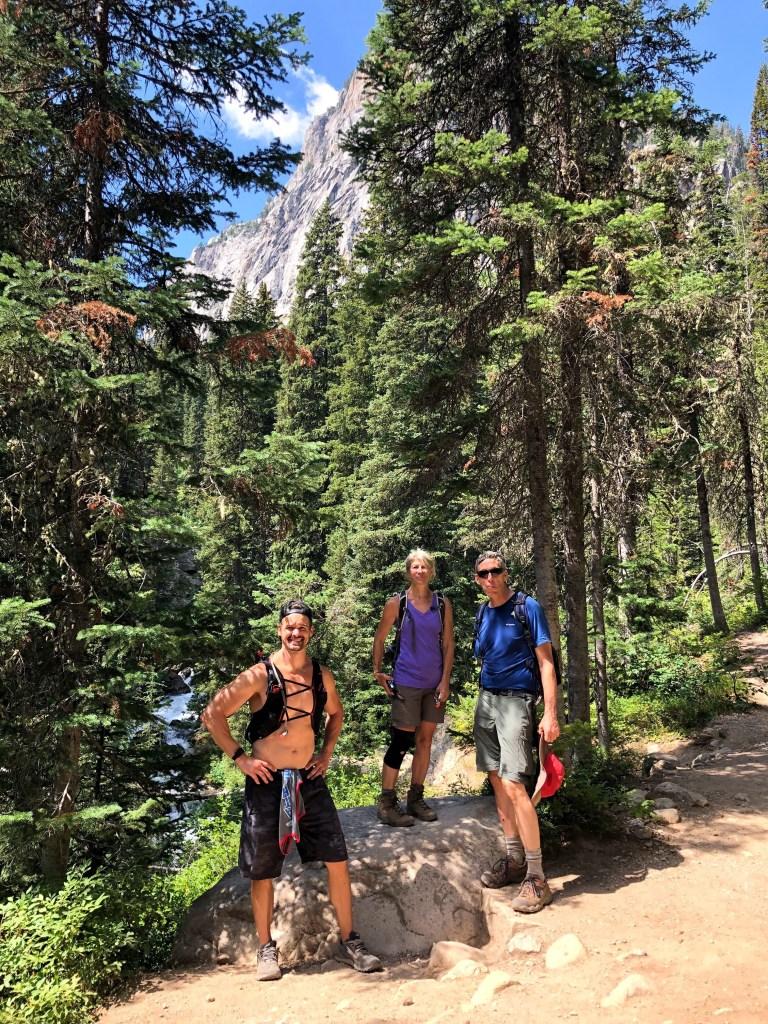Joe, Sue, and Chuck on Lake Solitude hike swatting flys