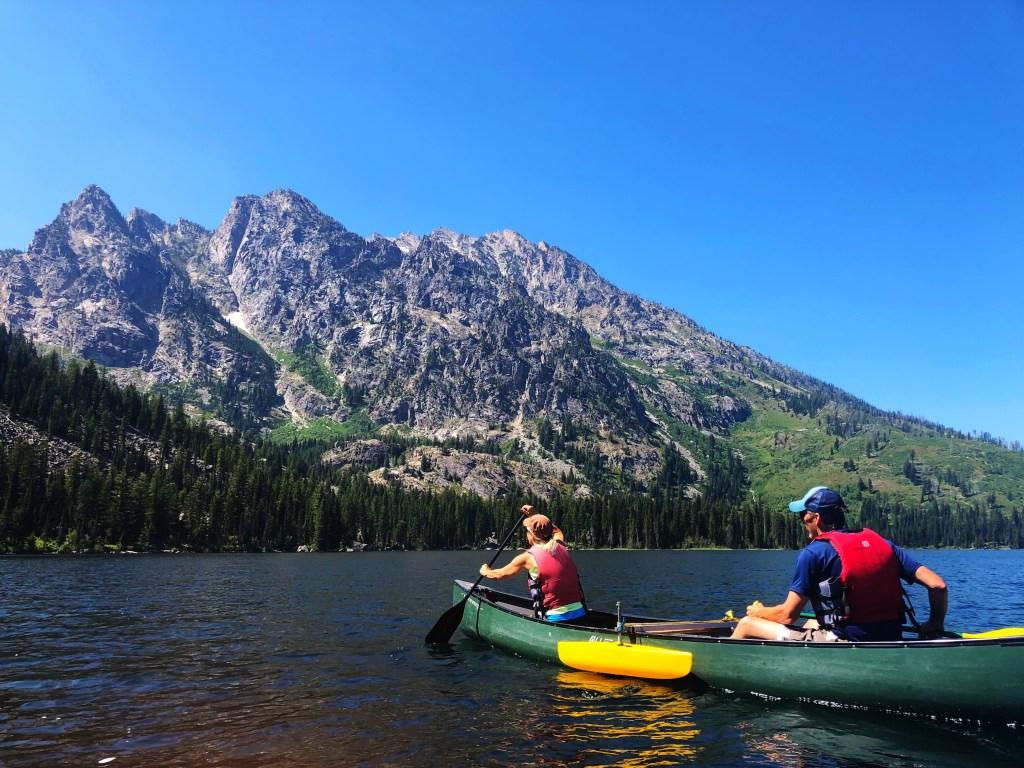 Sue and Chuck paddling on Jenny Lake