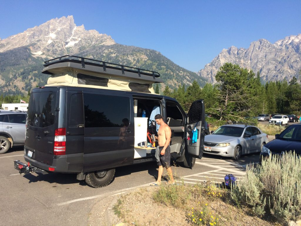 The van at Jenny Lake the trail parking lot