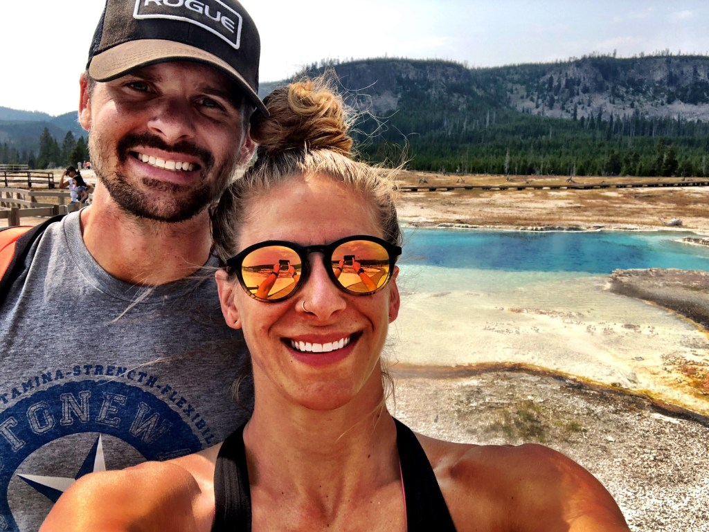 Emily and Joe in Yellowstone at old failthful