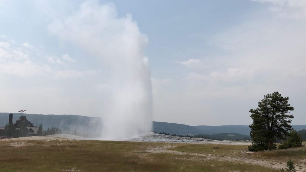 Old Faithful eruption in Yellowstone National Park