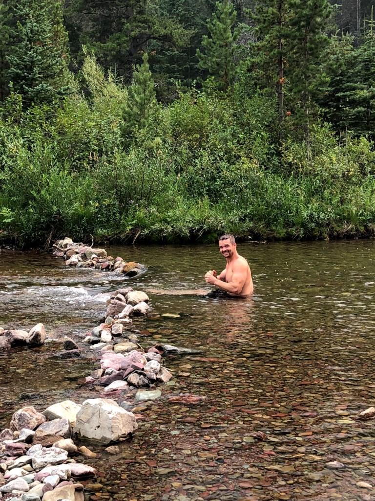 Joe taking a River shower