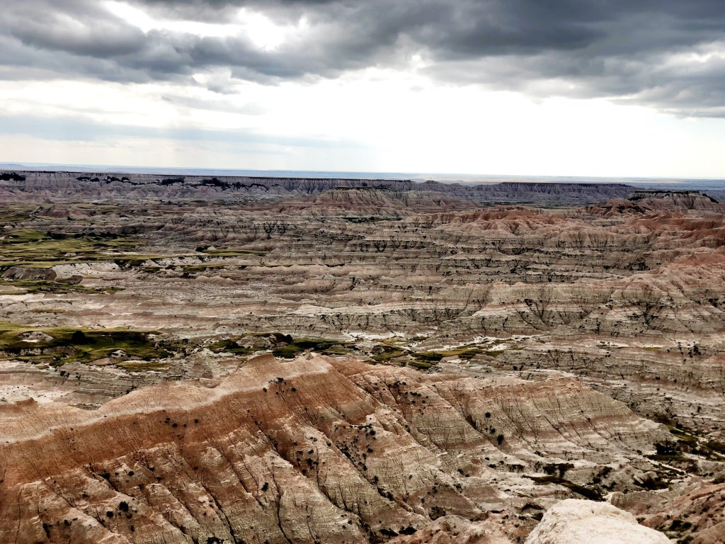 BLM land campsite views near Badlands National Park with Emily and Joe