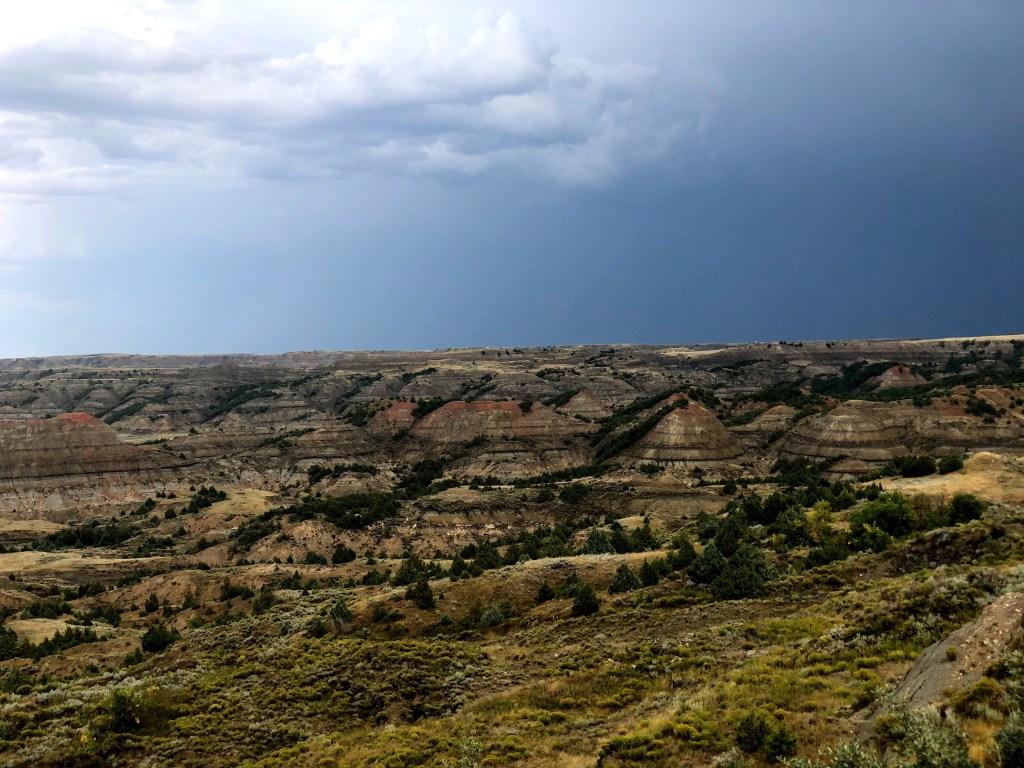 Badlands of Theodore Roosevelt National Park after a rain storm