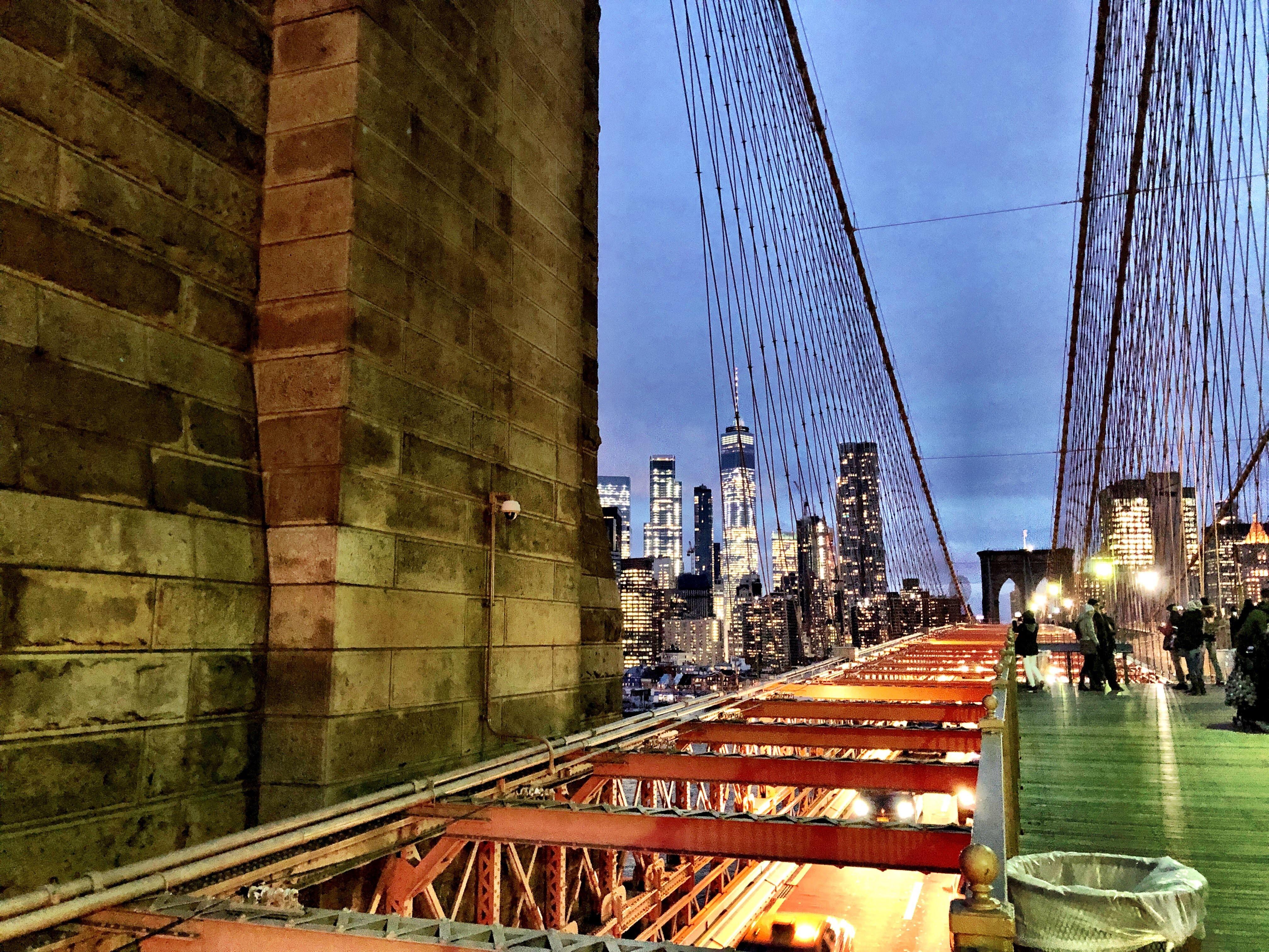 Brooklyn Bridge looking at NYC at night