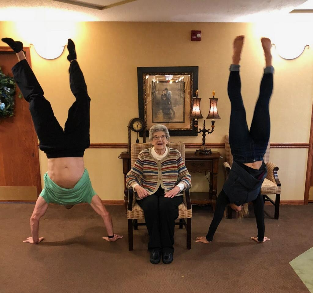 Handstand with Grandma in Midland
