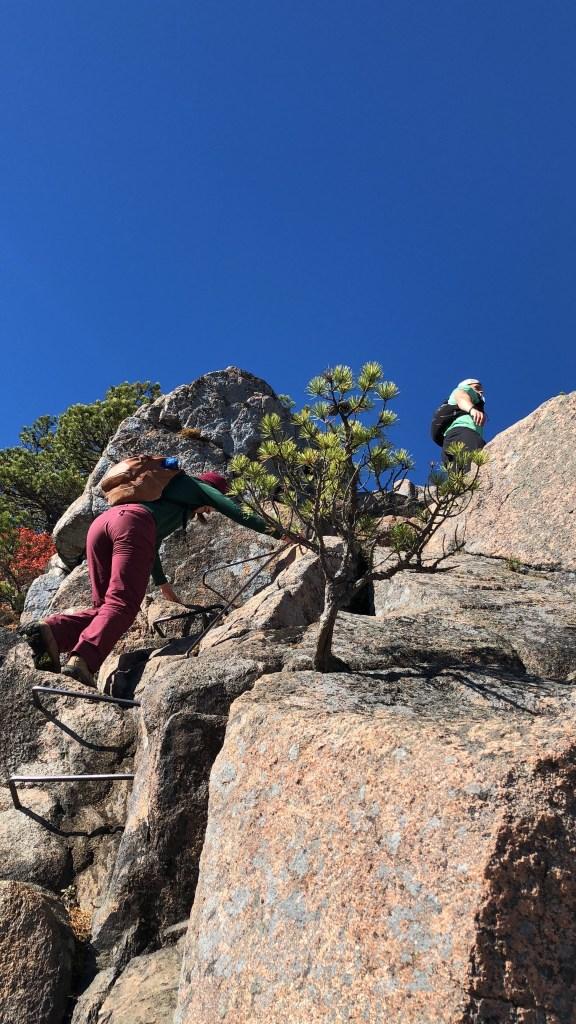 Hiking Beehive in Acadia