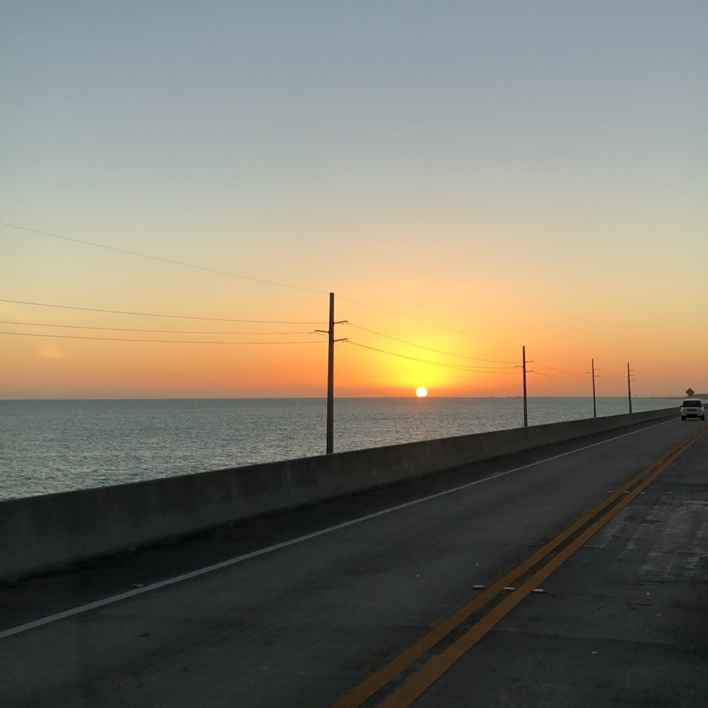 Driving the Overseas Highway during sunset