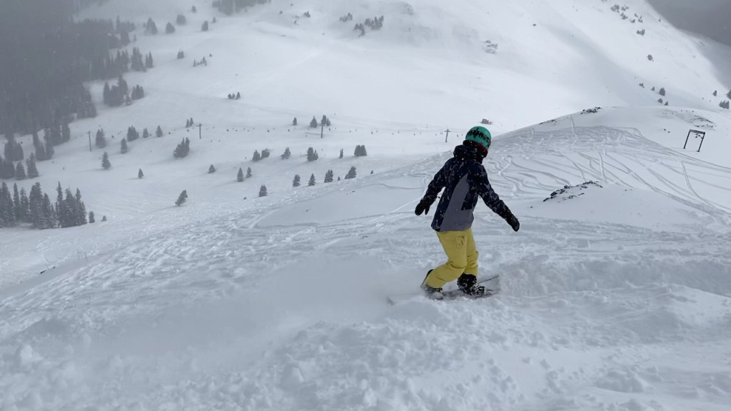 Emily hitting a powder run at Copper Mountain