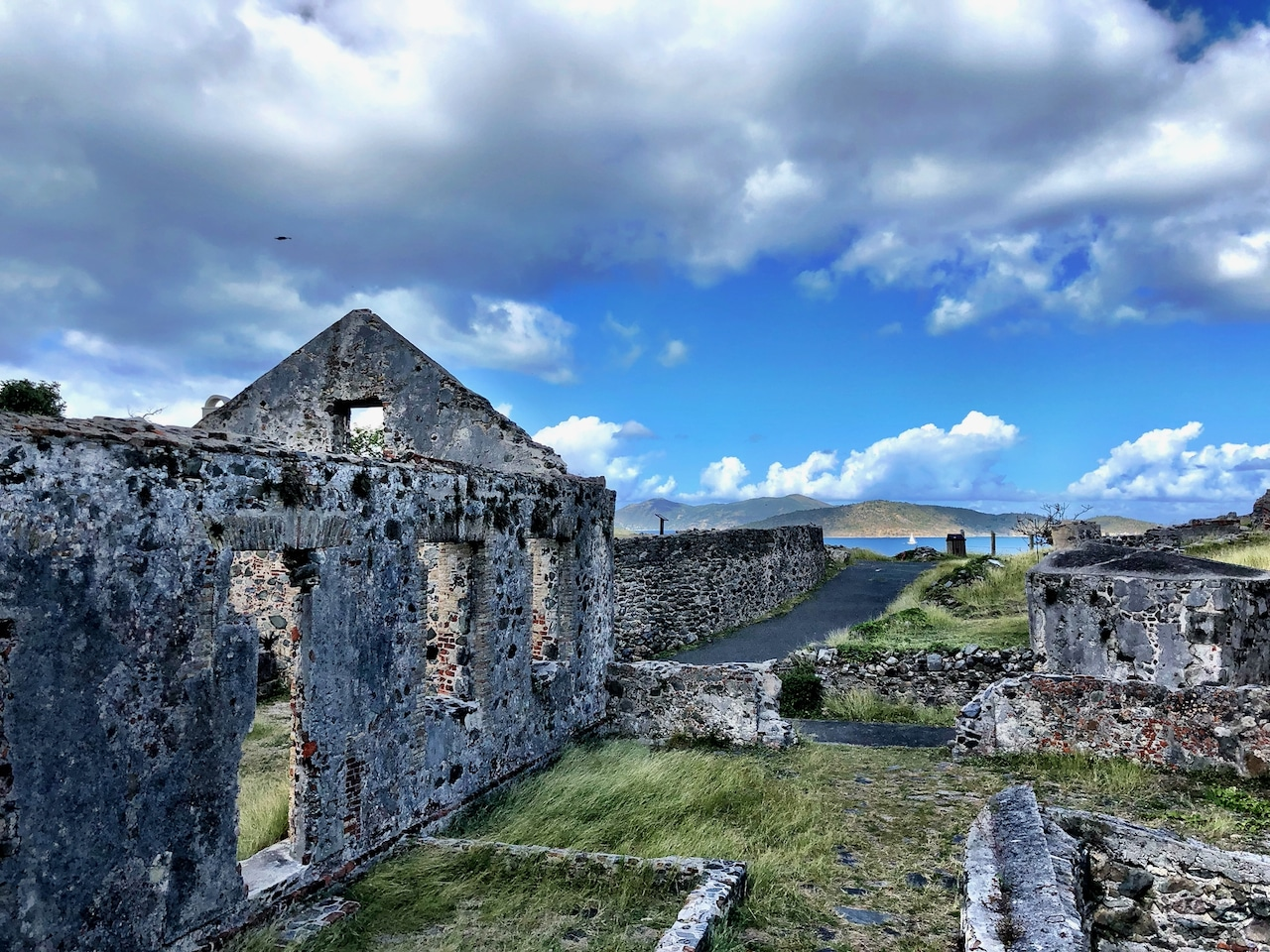 Sugar Mill Ruins on St John with crazy blue sky and clouds