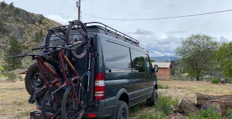 Sprinter van with Owl vans sherpa rack and Santa Cruz bikes