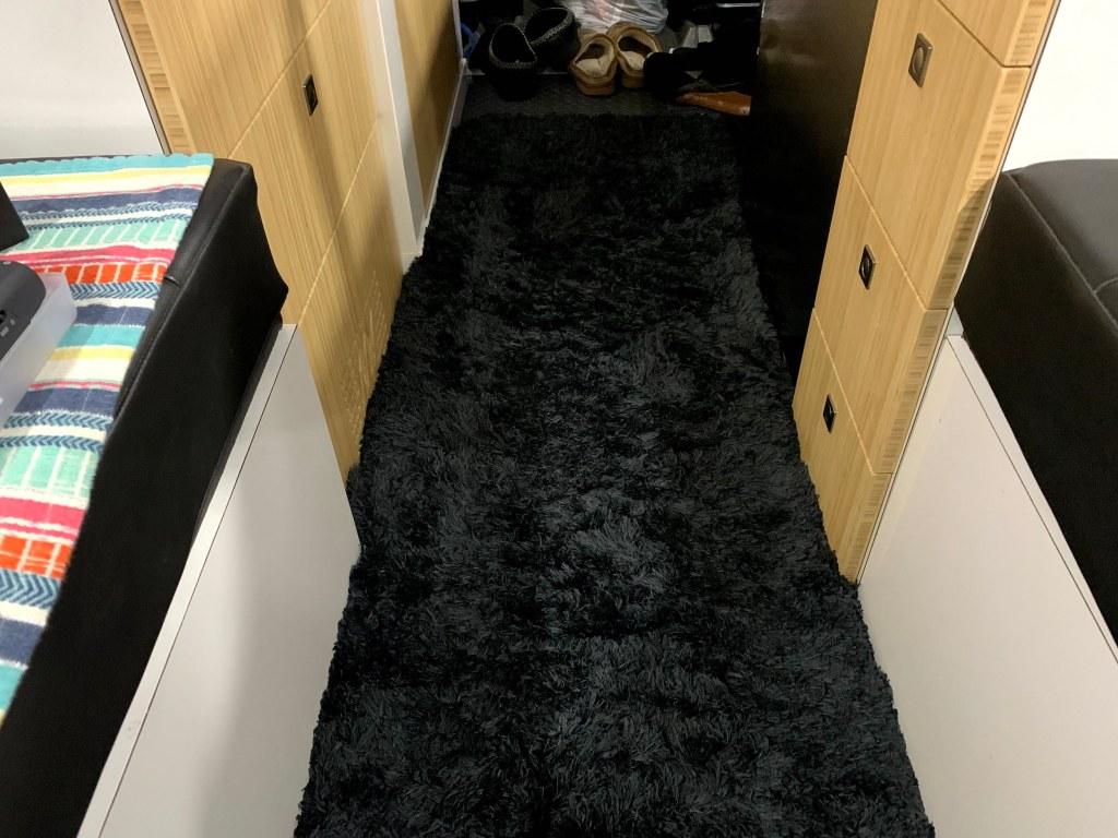 Winter time van flooring via a Walmart bath mat :-)