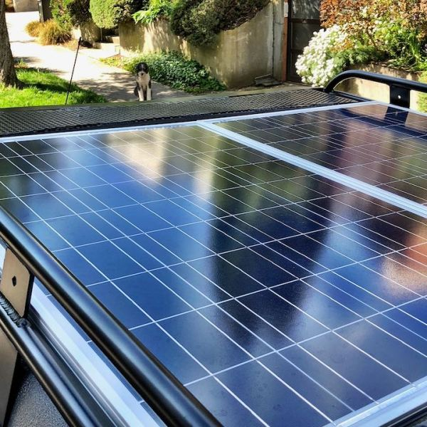 Solar panels on Alumines Pop top rack