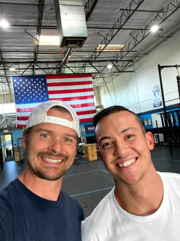 Joe and Joe Ward in the gym