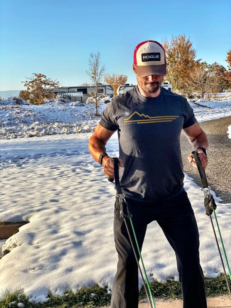 Joe doing a snowy workout in Fruita CO