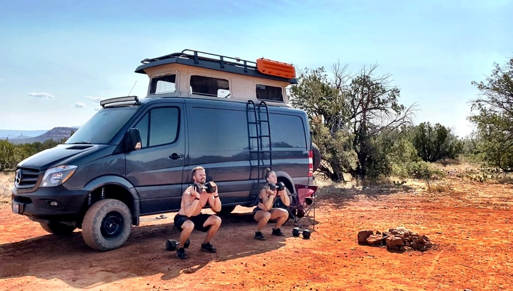 Joe and Emily working out in front of the sprinter van in Sedona AZ