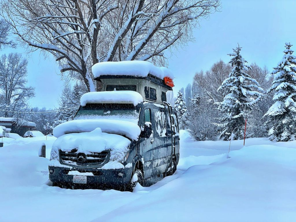 Snowy van at Fireside Resort - Jackson WY. Great place for Campgrounds for Full-Time Working RV'ers!