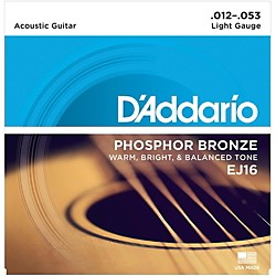 D'Addario EJ16 Phosphor Bronze Light Acoustic Guitar Strings Single-Pack Standard