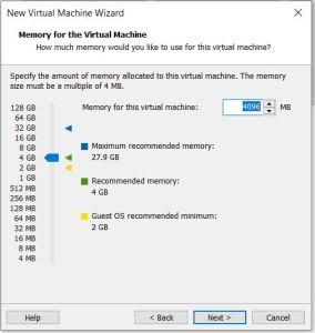 VMware Workstation RAM size