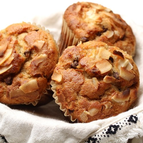 Peanut Butter Banana Chocolate Chip Vegan Gluten-Free Muffins
