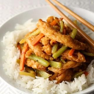 bowl of spicy vegan ginger beef