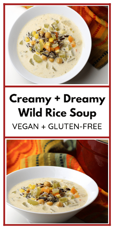 pin-able image for creamy wild rice soup