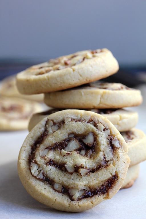 Image of recipe, Pecan Cinnamon Swirl Cookies, stacked on top of each other.