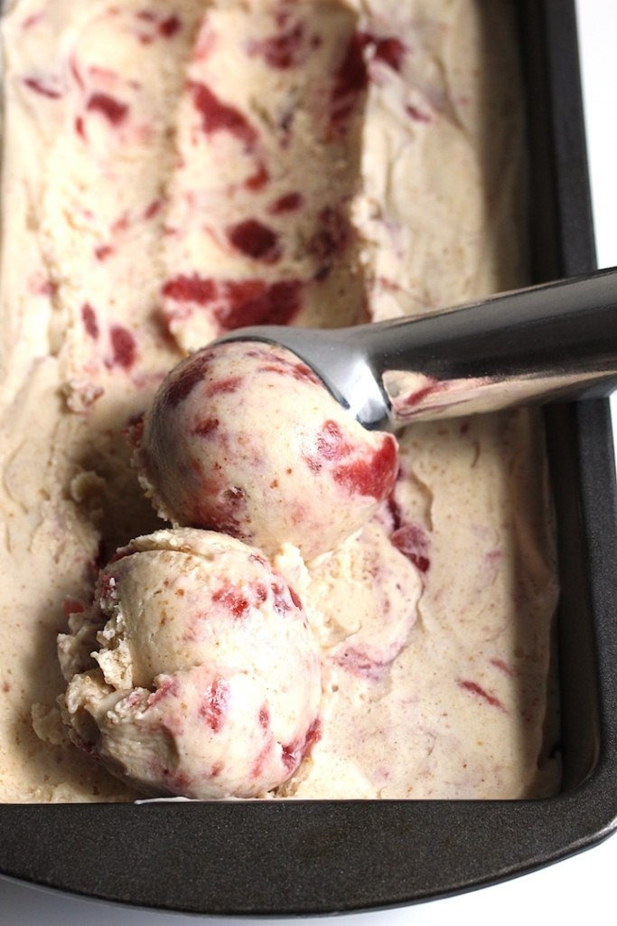 Close up of peanut-butter jam ice cream being scooped