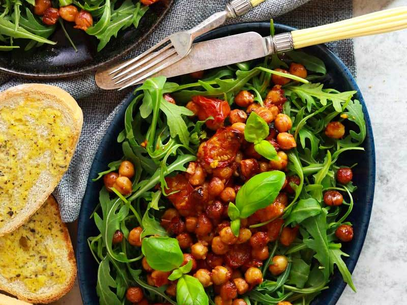 Easy vegan Harissa Roasted Chickpea & Tomato Salad
