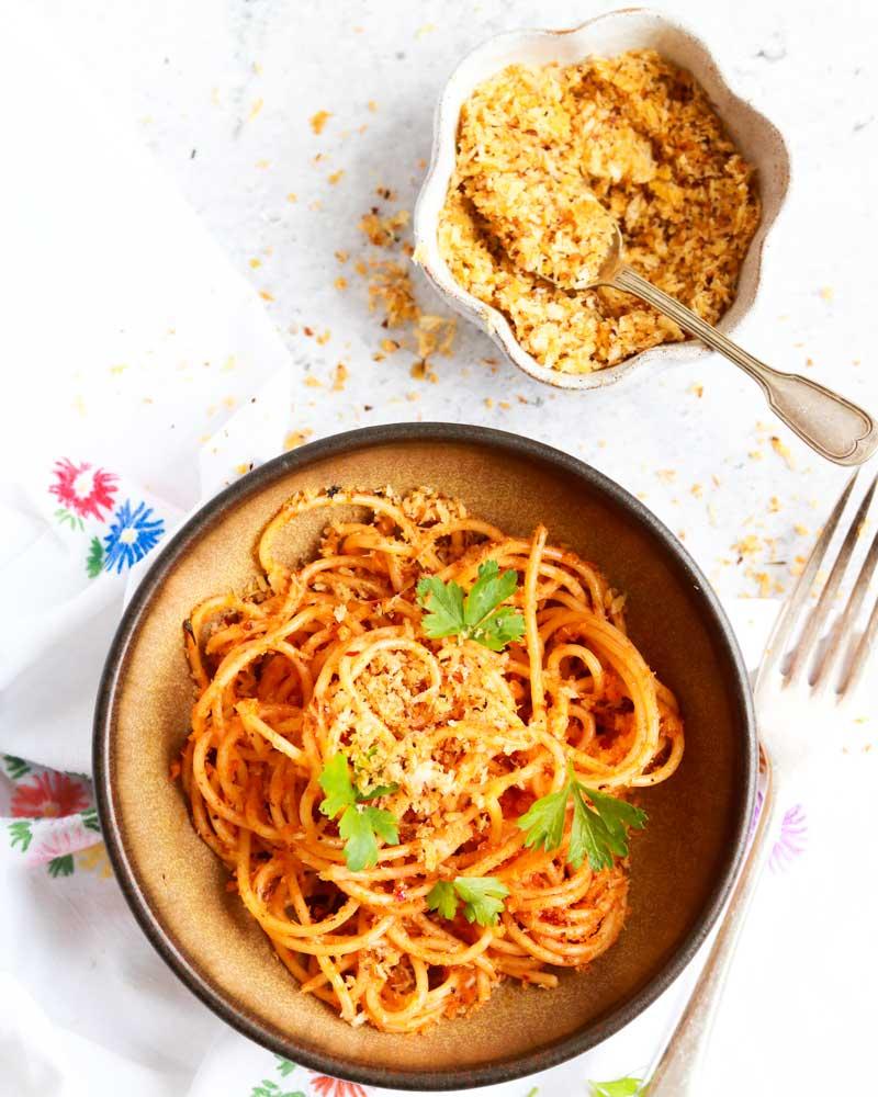 Vegan Parmesan aka Pangritata on pasta