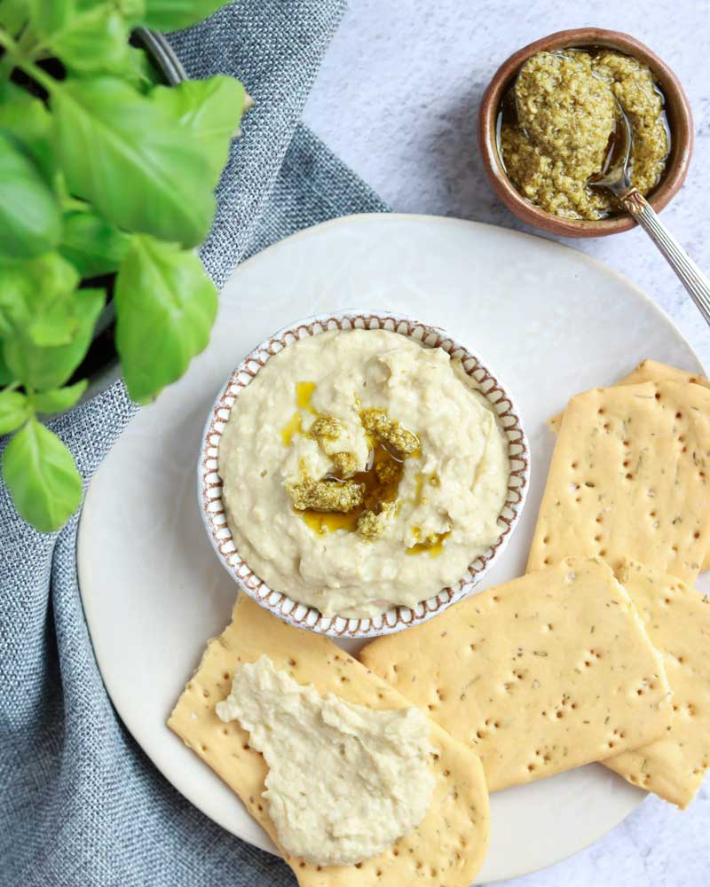 Pesto and Cannellini bean dip