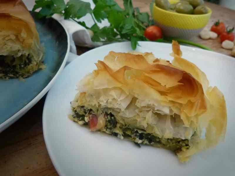 Veganised Spanakopita greens pie slice