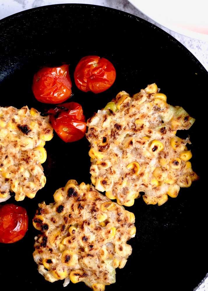 Corn Cakes in the pan