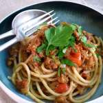 Vegan Spaghetti Bolognese with soya mince
