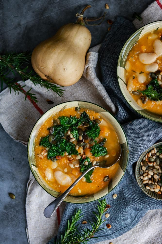 Butternut and White Bean soup in two bowls.