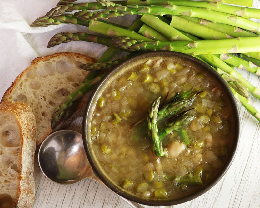 Asparagus Leek & Butterbean soup from the top
