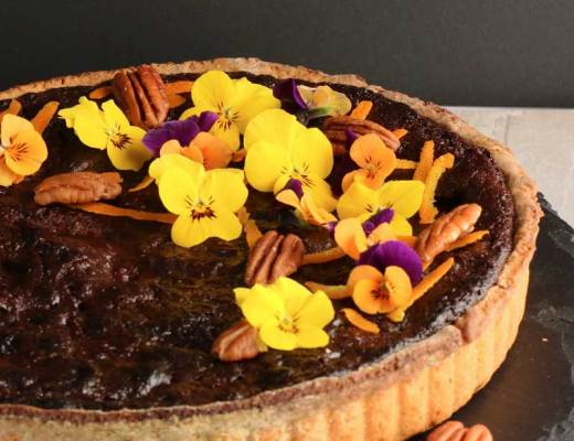 Chocolate Pecan Pie with pretty decorations