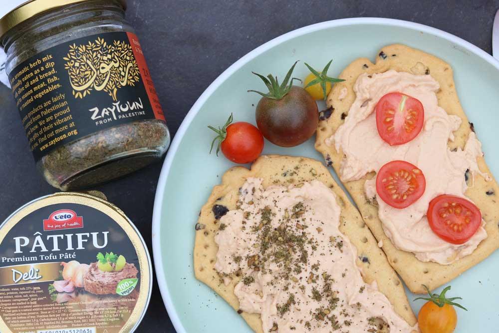 Patifu and Zayton Za'atar on crackers