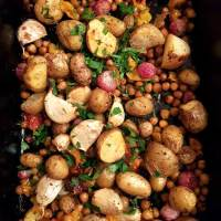 Garlicky Chickpea, Radish & Potato Traybake