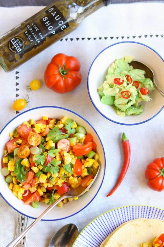Char Grilled Corn Salad with Guacamole and The Sauce Shop Coriander Sauce