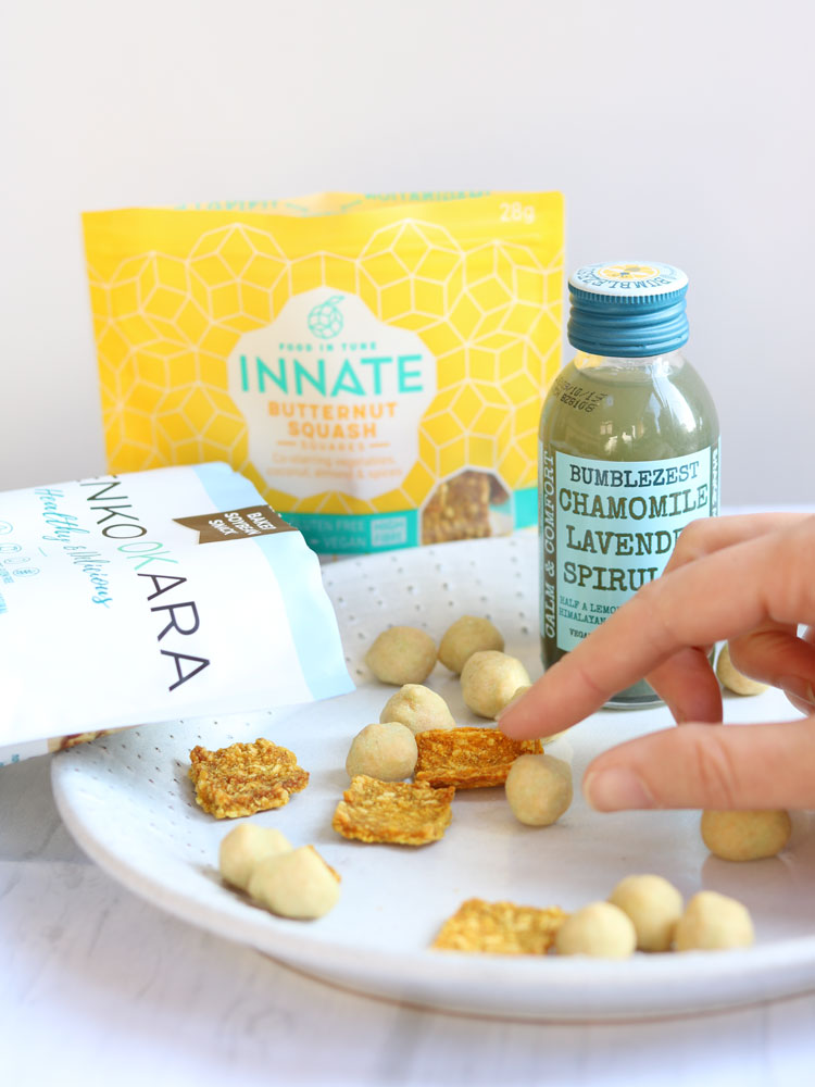 Kenko Wasabi PEas, Innate Butternut Squash Squares and Bumblezest drink