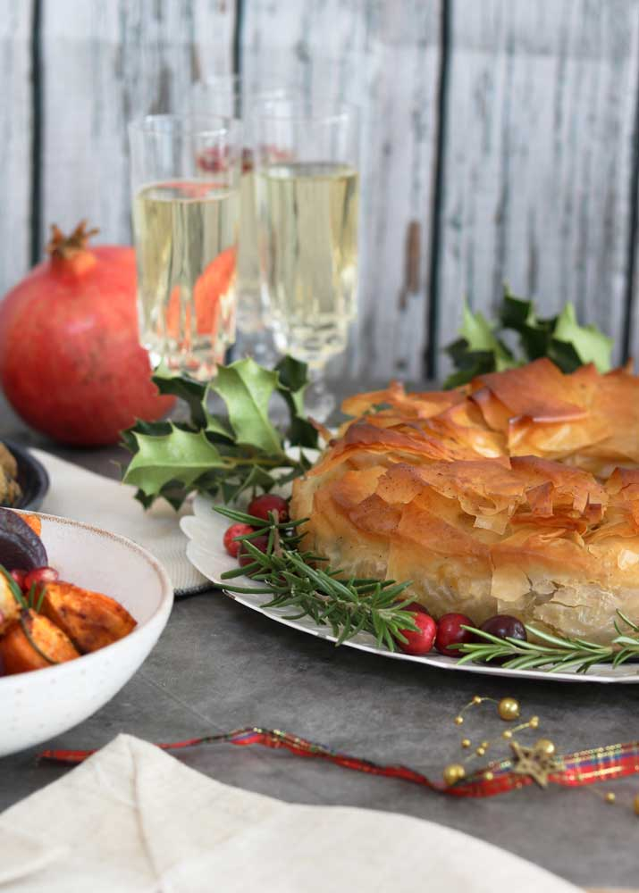 Mushroom, Chestnut and Squash Wreath Pie with drinks in background