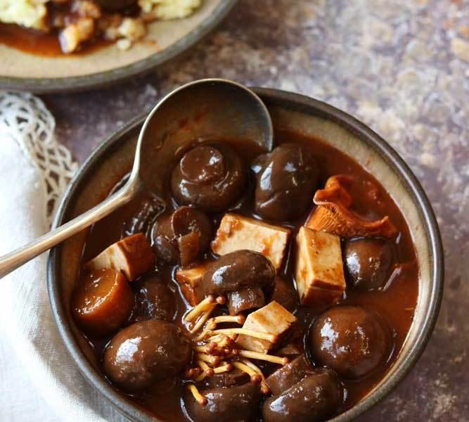 Mushroom and Tofu bourguignon with spoon